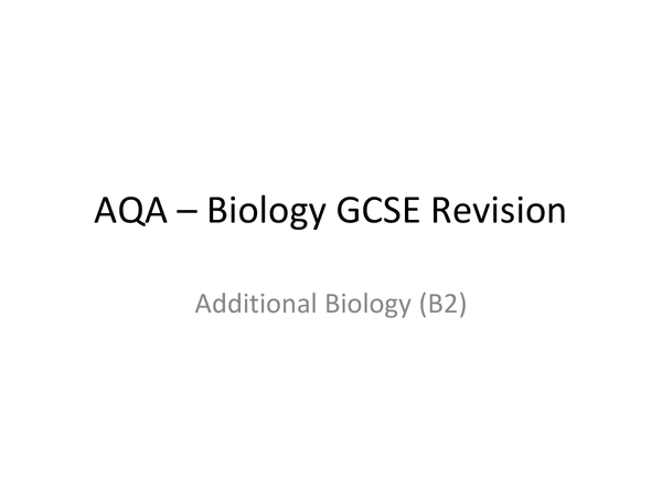Preview of AQA Additional Science Bioligy