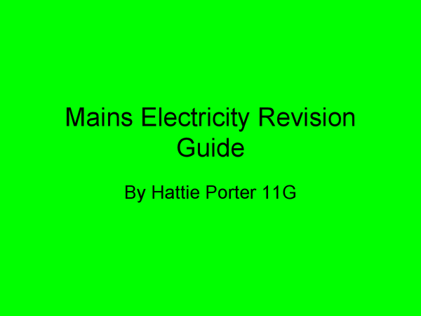 Preview of AQA Additional Science, Physics, Mains Eletricity
