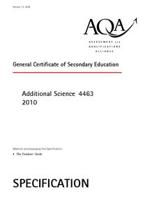 Preview of AQA Additional Science Specification - everything you need to know