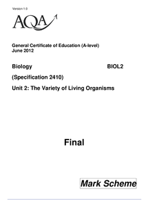 Preview of AQA AS 2 BIO June 2012 Marking Scheme