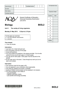 Preview of AQA AS 2 BIO June 2012 Question Paper