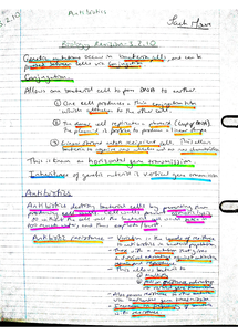 Preview of AQA AS Biology Revision Notes - Unit 2 Antibiotics & Resistance (3.2.10)