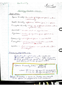 Preview of AQA AS Biology Revision Notes - Unit 2 Biodiversity (3.2.11)