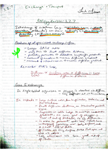 Preview of AQA AS Biology Revision Notes - Unit 2 Gas Exchange & Cellular Transport (3.2.7)