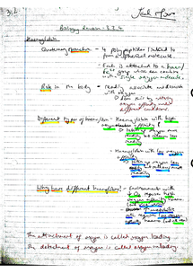 Preview of AQA AS Biology Revision Notes - Unit 2 Haemoglobin, Oxygen Dissociation Curves & Further Biochemistry (3.2.4)