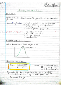 Preview of AQA AS Biology Revision Notes - Unit 2 Variation (3.2.1)