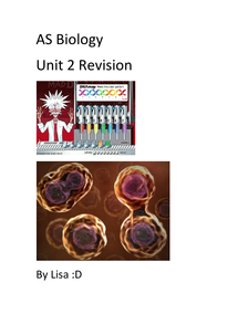 Preview of AQA AS Biology Unit 2 Revision