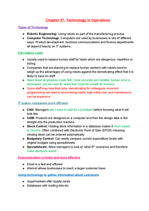 Preview of AQA AS Business studies chapter 37-Technology in Operations