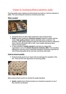 Preview of AQA AS Business studies chpater 34-Developing effective operations- quality