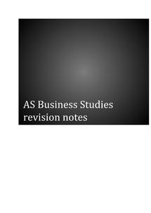 Preview of AQA AS Business Studies Unit 1 Revison Notes