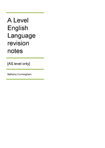Preview of AQA AS English Language revision notes