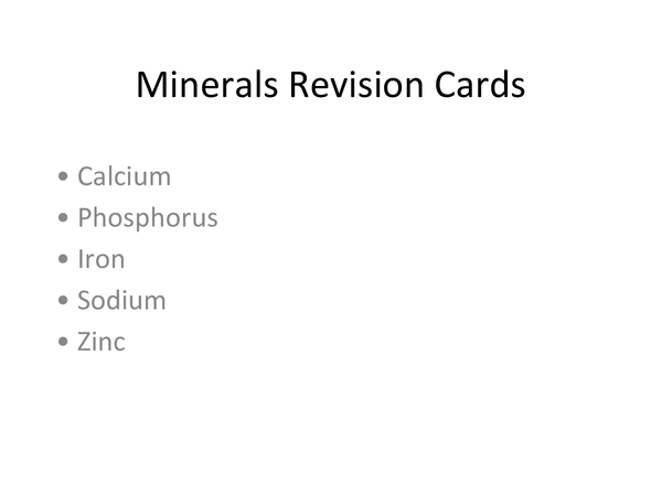 Preview of AQA AS Food Minerals Revision Cards