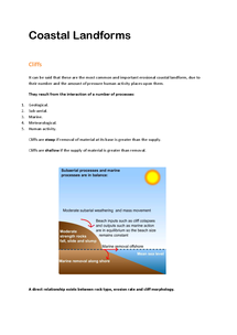 Preview of AQA AS Geography Coasts: Coastal Landforms