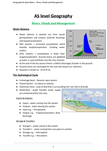 Preview of AQA AS Geography - Rivers, Floods and Management Content (FULL NOTES)