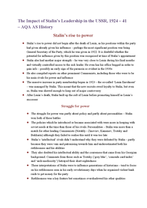 Preview of AQA AS History - Stalin's rise to power revision