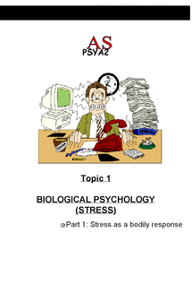 Preview of AQA As Psychology Unit 2 Stress Revision Notes