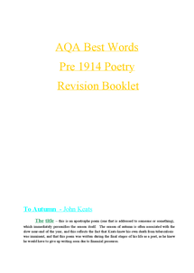 Preview of AQA Best Words Pre-1914 Poems Notes