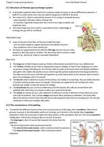 Preview of AQA Biology, Lungs and Lung Diease. -Unit 1