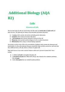 Preview of AQA Biology Unit 2 (B2) - Cells, Transport, Plants, Food Chains & Energy Flow