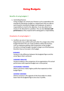 Preview of AQA Business Studies AS Unit 2 - Using Budgets