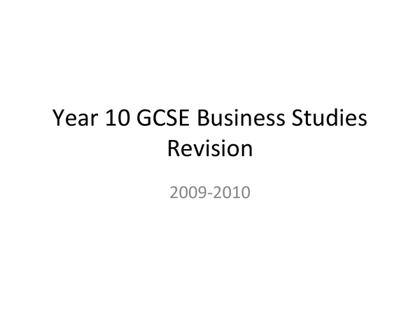 Preview of AQA business studies Unit 1