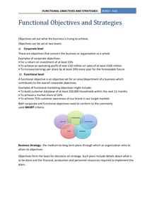 Preview of AQA BUSS3 - Functional Objectives and Strategies
