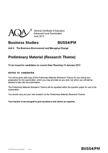 Preview of AQA BUSS4 Preliminary material research theme for 2014 - China - from AQA