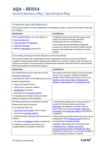 Preview of AQA BUSS4 Specification map - tutor2u