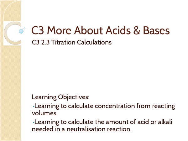Preview of AQA C3 2.3 Titration Calculations