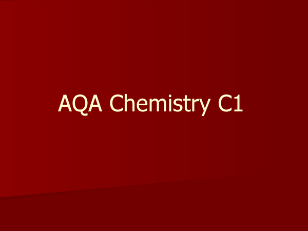 Preview of AQA Chemistry C1