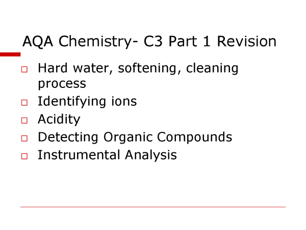 Preview of AQA Chemistry- C3 Part 1 Revision