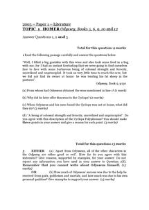 Preview of AQA CLASSICS GCSE QUESTIONS : ODYSSEY