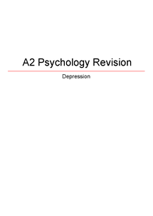 Preview of AQA Depression Revision Guide