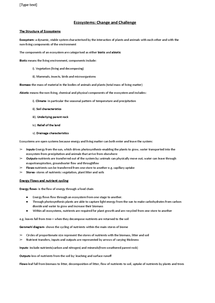 Preview of AQA Ecosystem notes- whole course