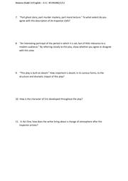 an inspector calls possible essay questions