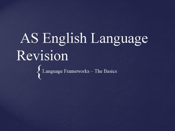 Preview of AQA English Language (B) - Basic Frameworks