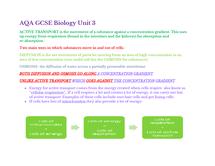 Preview of AQA GCSE Biology Unit 3