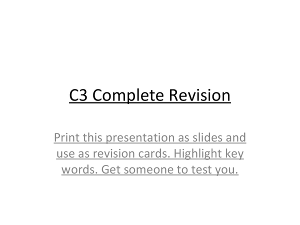 Preview of AQA GCSE C3 complete revision