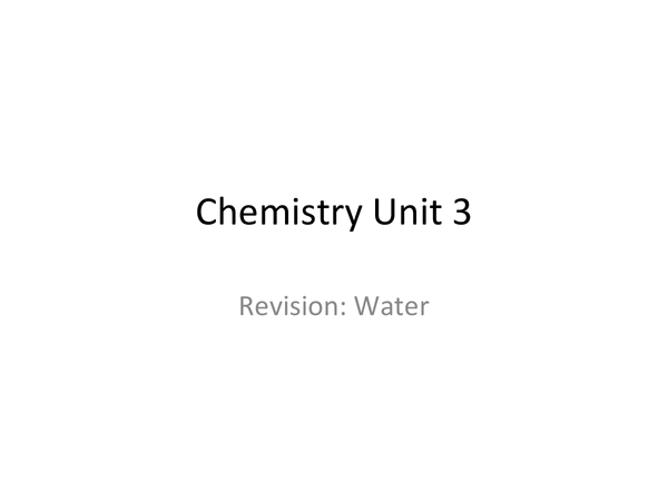 Preview of AQA GCSE Chemistry Unit 3 Water Filtration and Purification