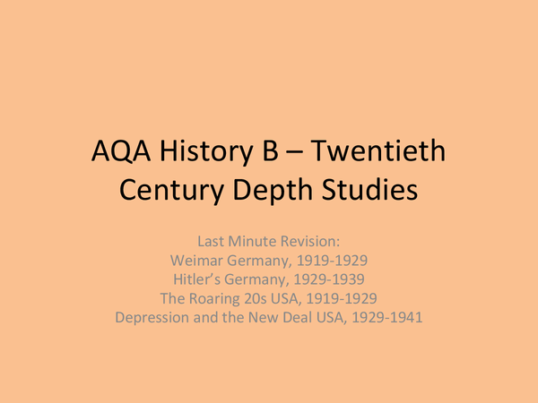 Preview of AQA GCSE History B - Depth Studies - Germany & USA