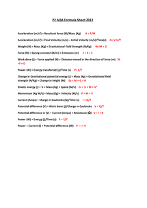 Preview of AQA GCSE P2 Formula Sheet 2012
