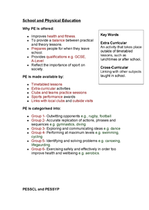 Preview of AQA GCSE PE Chapter 7- School and Physical Education