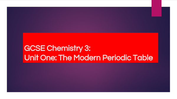 Preview of AQA GCSE (Triple) Chemistry:  The Periodic Table