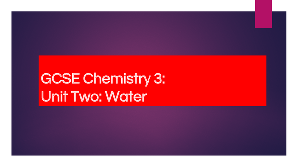 Preview of AQA GCSE (Triple) Chemistry: Water