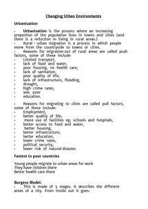 Preview of AQA Geography - Changing Urban Environments - Full set of notes