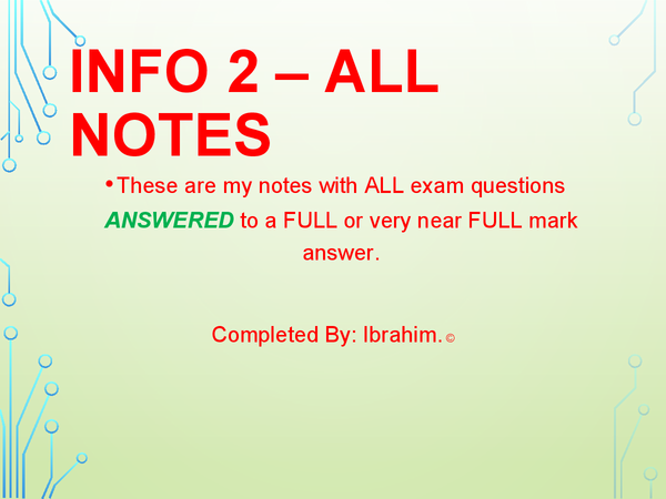 Preview of AQA INFO 2 ICT Notes and ALL Questions Answered.