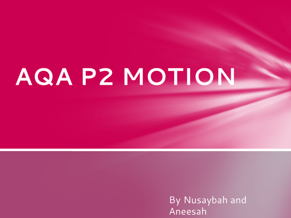 Preview of AQA P2 MOTION