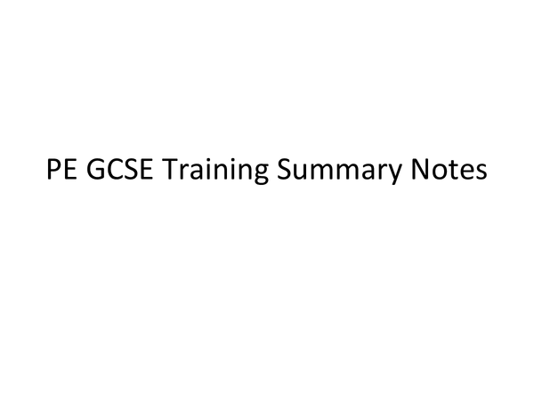 Preview of AQA PE GCSE Training Revision Notes