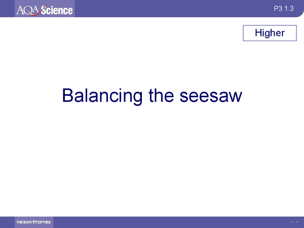 Preview of AQA Physics Balancing A Seesaw