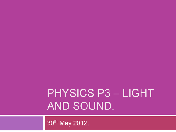 Preview of AQA Physics P3 - Light and Sound